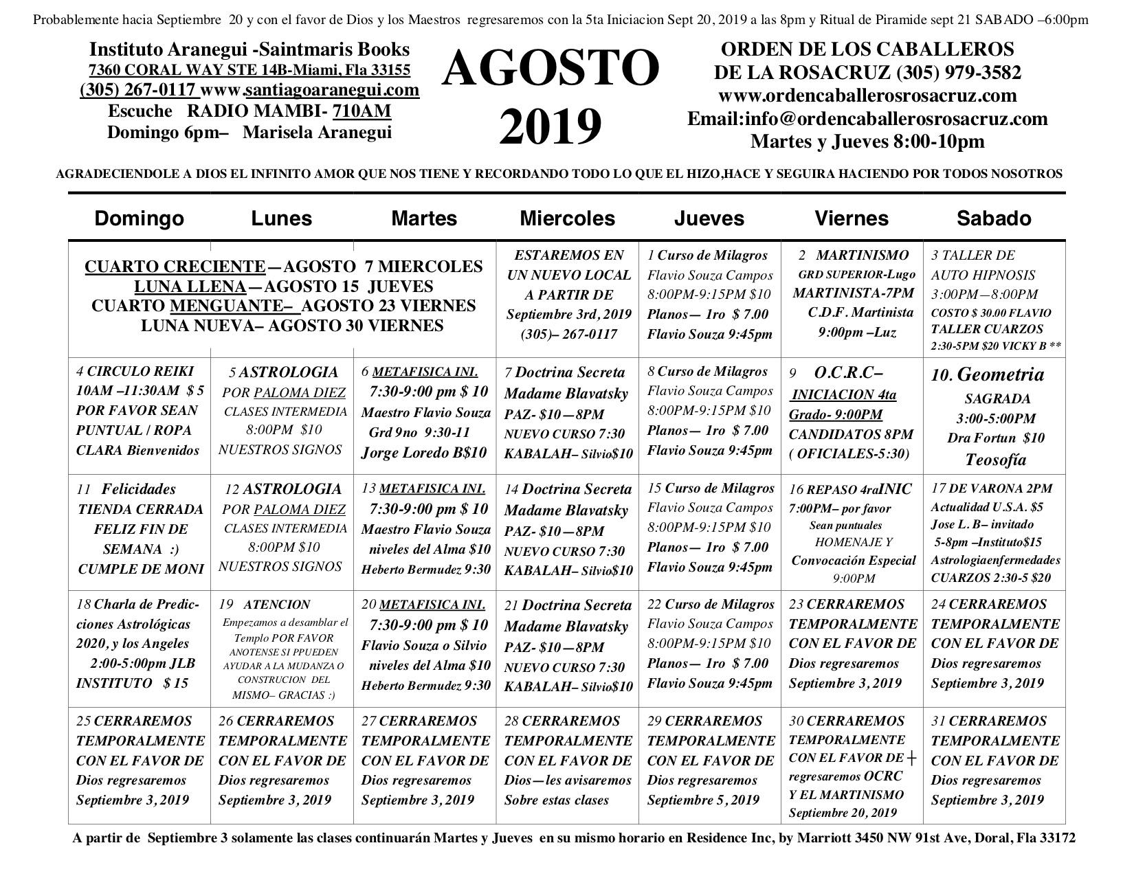 Calendario F.Santiago Aranegui Calendario